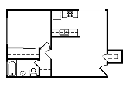 1 Bedroom, 1 bath 551 Square ft. Layout 1