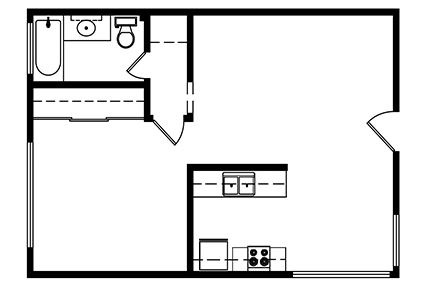 1 Bedroom, 1 bath 551 Square ft. Layout 2