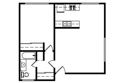 1 Bedroom, 1 bath 643 Square ft.