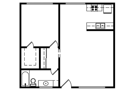 1 Bedroom, 1 bath 675 Square ft. Layout 1