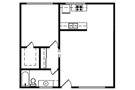 1 Bedroom, 1 bath 675 Square ft. Layout 2